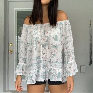 Anthropologie floral off shoulder blouse